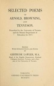 Cover of: Selected poems of Arnold, Browning and Tennyson | Matthew Arnold