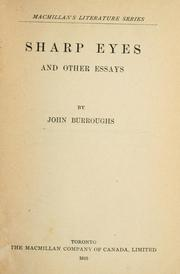 Cover of: Sharp eyes | John Burroughs