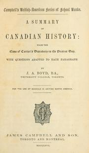 Cover of: A summary of Canadian history | J. A. Boyd