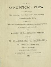 Cover of: A synoptical view of the literature for 1886 |