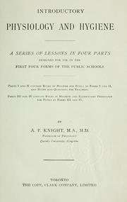 Cover of: Introductory physiology and hygiene | Knight, A. P.