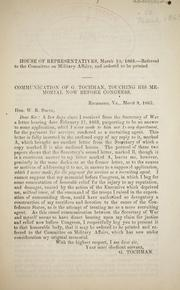 Cover of: Communication of G. Tochman by Confederate States of America. Congress. House of Representatives. Committee on Military Affairs