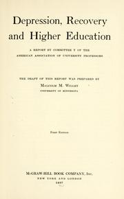Cover of: Depression, recovery and higher education by Malcolm Macdonald Willey