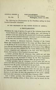 Cover of: A proclamation by Abraham Lincoln