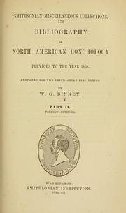 Cover of: Bibliography of North American conchology previous to the year 1860 | W. G. Binney