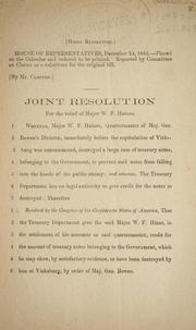 Cover of: Joint resolution for the relief of Major W.F. Haines. | Confederate States of America. Congress