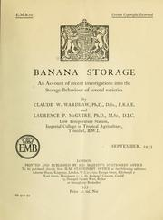 Cover of: Banana storage by C. W. Wardlaw
