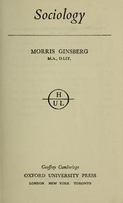 Cover of: Sociology by Ginsberg, Morris