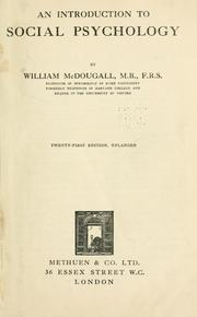 Cover of: An introduction to social psychology by McDougall, William