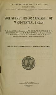 Cover of: Soil survey (reconnaissance) of west-central Texas | William T. Carter