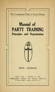 Cover of: Manual of party training | Communist Party of Great Britain