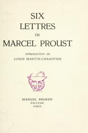 Cover of: Six lettres de Marcel Proust  by Marcel Proust