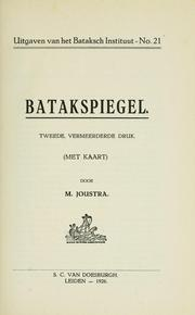 Cover of: Batakspiegel by M. Joustra