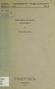 Cover of: Public opinion and Canada's external affairs | Percy Ellwood Corbett