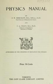 Cover of: Physics Manual | F.W. Merchant