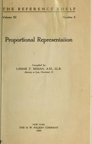 Cover of: Proportional representation by Lamar T. Beman
