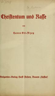 Cover of: Christentum und rasse | Hanns Ott-Alzey