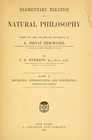 Cover of: Elementary treatise on natural philosophy by A. Privat-Deschanel