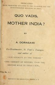 Cover of: Quo vadis, Mother India? by Abraham Dorasami