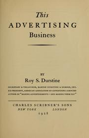 Cover of: This advertising business | Roy Saries Durstine