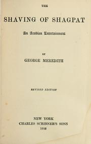 Cover of: The shaving of Shagpat | George Meredith