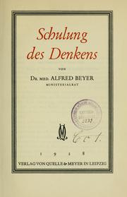 Cover of: Schulung des Denkens | Beyer, Alfred