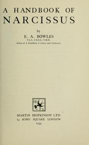 Cover of: A handbook of narcissus by E. A. Bowles
