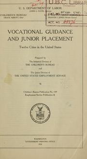 Cover of: Vocational guidance and junior placement | United States. Children