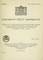 Cover of: Canadian fruit shipments by Great Britain. Empire Marketing Board. Economic Section