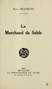 Cover of: Marchand de sable by Paul Neuhuys