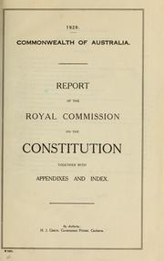 Cover of: Report of the Royal Commission on the Constitution | Australia. Royal Commission on the Constitution