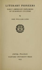 Literary pioneers by Orie William Long
