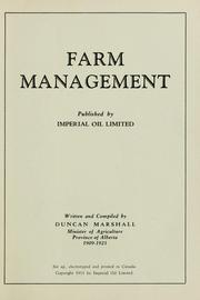 Cover of: Farm management by Duncan M'Lean Marshall