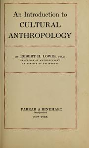 Cover of: An introduction to cultural anthropology