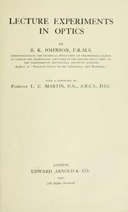 Cover of: Lecture experiments in optics | Johnson, B. K.