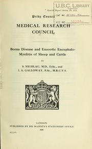 Cover of: Borna disease and enzootic encephalo-myelitis of sheep and cattle by Stefan Nicolau