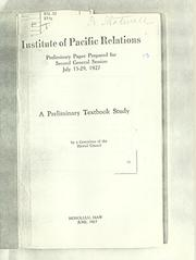 Cover of: A preliminary textbook study by Institute of Pacific Relations. Conference