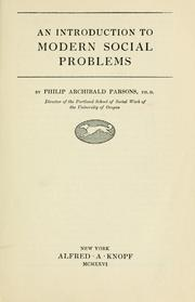 Cover of: An introduction to modern social problems by Philip A. Parsons