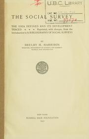 Cover of: The social survey by Harrison, Shelby M.