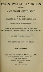 Cover of: Stonewall Jackson and the American Civil War by G. F. R. Henderson