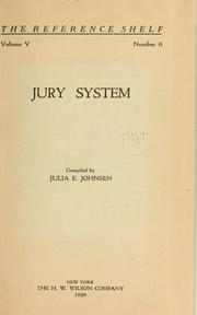 Cover of: Jury system by Julia E. Johnsen