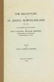Cover of: Recapture of St. John's, Newfoundland in 1762 | William Amherst