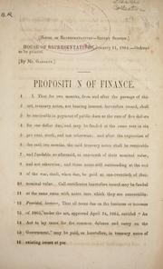 Cover of: Proposition on finance by Confederate States of America. Congress. House of Representatives