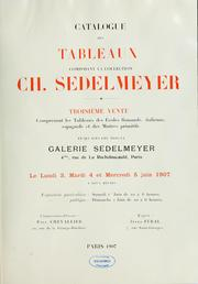 Cover of: Catalogue de tableaux composant la collection Ch. Sedelmeyer | Charles Sedelmeyer