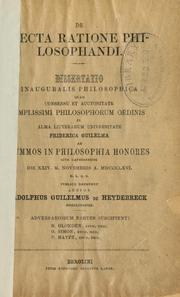 Cover of: De recta ratione philosophandi by Adolphus Guilemus de Heydebreck