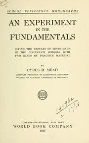 Cover of: An experiment in the fundamentals by Cyrus DeWitt Mead