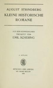 Cover of: Kleine historische Romane | August Strindberg