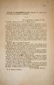 Cover of: [Resolutions transmitted] to the Hon. Speaker of the House of Representatives | Confederate States of America. Army. Alabama Artillery Battalion, 20th. Company B.