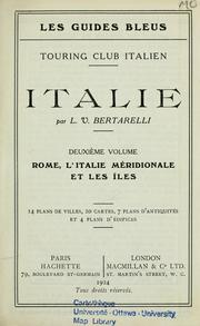 Cover of: Italie by Luigi Vittorio Bertarelli