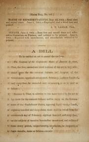 Cover of: A bill to be entitled An act to amend the tax laws | Confederate States of America